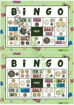 Nov 2016 - Teaching Resource: 32 different bingo cards using notes and coins. Teaching Money, Teaching Skills, Primary Teaching, Primary Maths, Teaching Math, Maths Fun, Money Bingo, Money Games, Money Activities