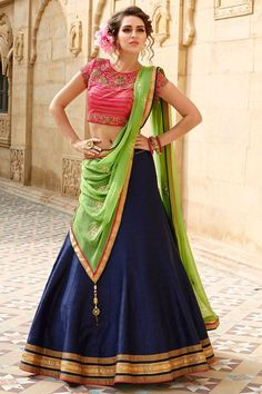 Buy Dark blue and pink embroidered banglori silk unstitched lehenga choli Online
