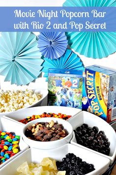 Make your movie night at home watching Rio 2 special with a fun Pop Secret popcorn bar! We even have Blu's favorite blueberries! {The Love Nerds}  #PopForRio2 #PMedia #ad