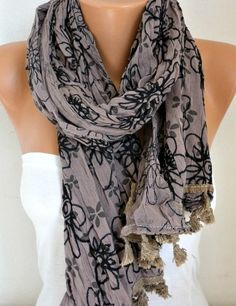 ON SALE  Taupe Embroidered Floral Cotton Scarf Fall Scarf