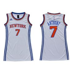 Carmelo Anthony Authentic In White Adidas NBA New York Knicks Dress #7 Women's Jersey
