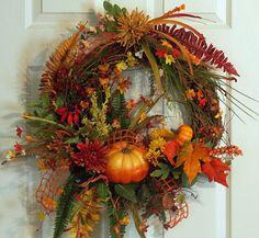 Autumn Fall Grapevine Pumpkin Wreath by PataylaFloralDesigns