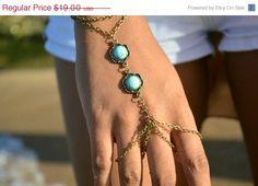 Boho Bracelet Hand Bracelet Piece Ring Hipster Bronze Chain Bohemian Boho Two Turquoise Beads Hand Jewelry BRCindy on Etsy, €12,88