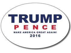Show your support for Donald Trump and Mike Pence everywhere you go with this white oval bumper sticker. We also sell a blue version of this bumper sticker. • Strong & durable adhesive • Removable vin