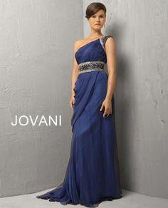 Royal blue one shoulder chiffon gown. 3012