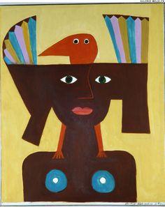 BRAUNER, Victor. Femme Oiseau. (Ref#: 546 ).1961. Oil on canvas. Size in Cm: 65 x 54.