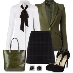 A fashion look from November 2016 featuring tie shirt, green blazer and checkered skirt. Browse and shop related looks. Office Fashion, Work Fashion, Modest Fashion, Fashion Looks, Women's Fashion, Dress Up Outfits, Classy Outfits, Chic Outfits, Fashion Outfits