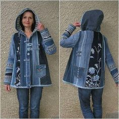UpCycle Denim Jeans to Jacket - Made By Barb - Easy piecing Pull Crochet, Gilet Crochet, Abaya Mode, Denim Art, Denim Ideas, Denim Crafts, Old Jeans, Recycled Denim, Denim Outfit