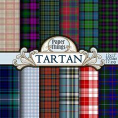 Tartan Digital Paper Clipart Seamless Background Scottish