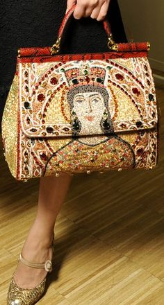 Dolce FW 2014 Mosaic Women Collection the handbags. Love the religious influence of this collection, such rich colors!!