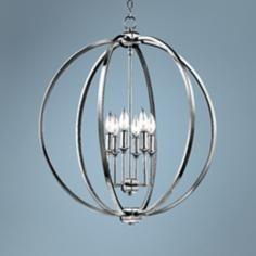 "Feiss Corrine 24 1/2"" Wide Polished Nickel Globe Pendant"