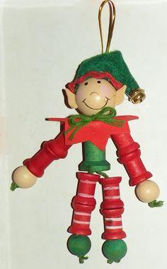Christmas Holiday Elf Wooden Spool Ornament. $7.00, via Etsy.