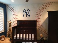 A NY Yankees Nursery Featuring Hand Painted Baseball Wall Mural And 3