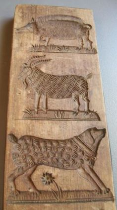 Springerle cookie mold, wooly animals, carved wood