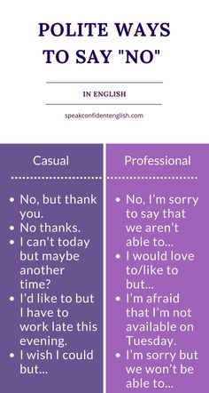 Professional English. Is someone waiting for you to make a decision? Not sure what to say or how to best say no? Here's a great lesson with expressions for face-to-face conversation, speaking on the telephone, and communicating by email in English.