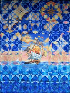 "On a Quilted Breeze, 87 x 109"", by the Oregon Coastal Quilters Guild, with artwork by Dennis McGregor"