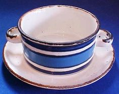 Midwinter Stonehenge Moon Cream Soup Bowl with Underplate Made in England