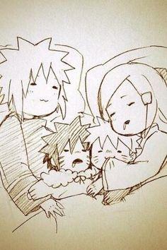 Minato, menma, Naruto and kushina/// LOOK AT BABY NARUTO CHEWING HIS MOMMYS SLEEVE!! KAWAAAIIIII~