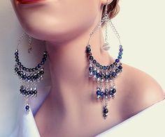 Beaded hoop earrings - blue / silver - lightweight - fringe - Egyptian inspired