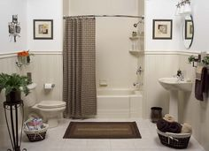 Almond Classic Tub With Smooth Almond Wall Surround And Wainscoting And  Shower Rod | Flickr