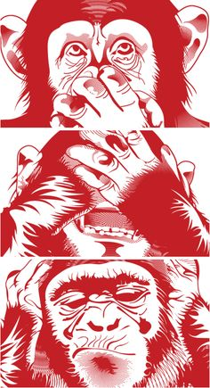 Hear no evil,see no evil,speak no evil.im excited Three Wise Monkeys, Monkey Tattoos, Monkey Art, Gas Monkey, Arte Pop, Dope Art, Vector Art, Art Drawings, Gorilla Tattoo
