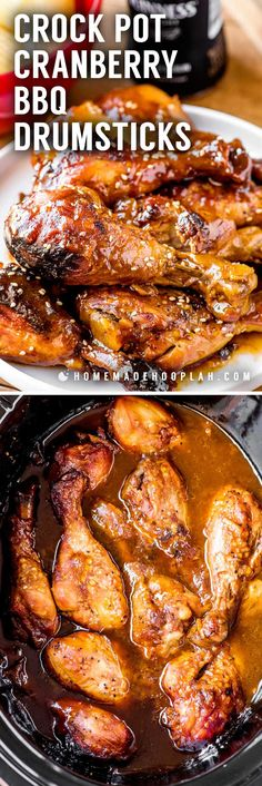 Crock Pot Cranberry BBQ Drumsticks! Chicken drumsticks slow cooked in a cranberry bbq sauce make for an easy weeknight dinner or serving a crowd on game day. It's pure fall comfort food!   HomemadeHooplah.com