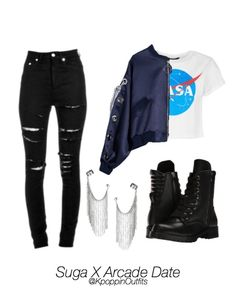 kpop fashion Kpop Outfits Bts X Arcade Date Requested Cute Teen Outfits, Teenager Outfits, Edgy Outfits, Korean Outfits, Pretty Outfits, Latest Outfits, Types Of Clothing Styles, Mode Hip Hop, Outing Outfit