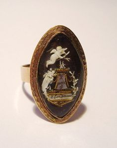 Georgian French Navette mourning ring with extraordinary fine bone carving of a cherub - c.1790