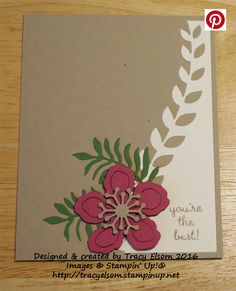 Card created using the Botanical Builder Framelits Dies from the Stampin' Up! 2016 Occasions Catalogue.  http://tracyelsom.stampinup.net