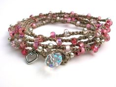 Romantic crochet wrap bracelet , pink bracelet - Flirt - Bohemian jewelry, crochet jewelry heart charm, boho, love, long necklace, delicate