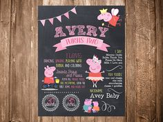 Peppa Pig First 1st Birthday Second 2nd Chalkboard by BaconMade