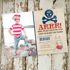 pirate birthday party invitation, birth announcement or baby shower invitations, digital, printable file (item 219)