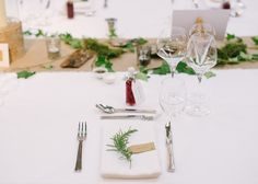 Herb Place Setting - Hannah Duffy Photography | New Gen Films | Charlie Brear Peyton Dress & Augustine Skirt | DIY Rustic Wedding at Grove Barn Wedding Venue in the Vale of Belvoir | Dessy Group Bridesmaid Dresses