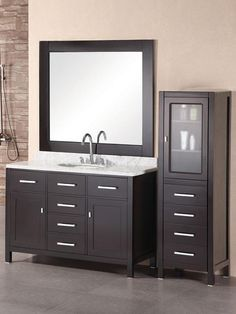 This London bathroom vanity features a single sink and beautiful polished faucet. The matching linen tower features ample storage and completes this bathroom vanity set. Home Depot Bathroom Vanity, Discount Bathroom Vanities, Oak Bathroom, Bathroom Vanity Designs, Rustic Bathroom Vanities, Single Sink Bathroom Vanity, Cheap Bathrooms, Bathroom Vanity Cabinets, Rustic Bathrooms