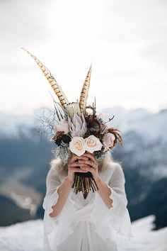 Pheasant Feather Bouquet | New Age Vintage Style - via Magnolia Rouge: