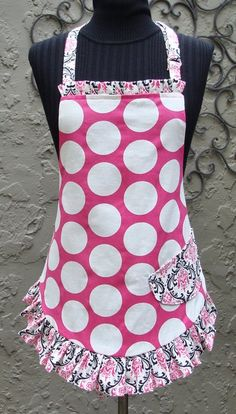Personalized Monogrammed Polka Dot and Damask Womens Apron