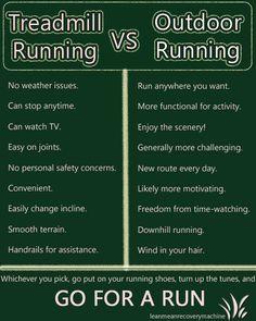 Treadmill vs Outdoor-- outdoor running all the way! Fitness Motivation, Running Motivation, Fitness Tips, Health Fitness, Health Diet, Mens Fitness, Running On Treadmill, Running Workouts, Running Tips