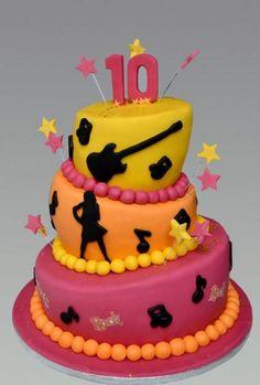 Rock music theme 3 tier topsy turvy 10th birthday cake.JPG