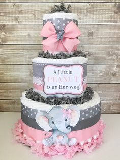 A Little PEANUT is on Her way Diaper Cake, Elephant Baby Shower Centerpiece, Elephant Baby Shower Decorations by AllDiaperCakes on Etsy https://www.etsy.com/listing/563362537/a-little-peanut-is-on-her-way-diaper