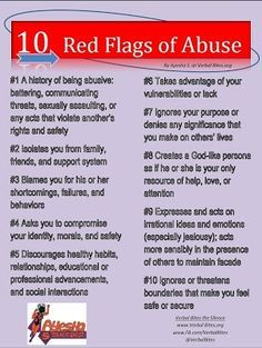 10 Red Flags Of Abuse.Know the signs of abuse before it's too late! There is such a thing as verbal ( word, emotional) abuse and it is worse than physical abuse. Abusive Relationship, Toxic Relationships, Relationship Advice, Relationship Psychology, Verbal Abuse, Narcissistic Sociopath, Thing 1, Marriage Tips, Self Esteem