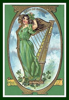 Divided Back Postcard Erin Go Bragh, Gold framed Woman in Green with Harp St. St Patrick's Day, St Patricks Day Cards, Saint Patricks, Erin Go Braugh, Painting Prints, Art Prints, Irish Girls, Irish Blessing, Vintage Cards