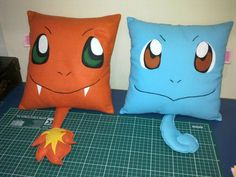 Handmade Pokemon Squirtle And Charmander Pillows : Fantastic Pokemon Decorations for Kids' Bedroom Remodel Ideas