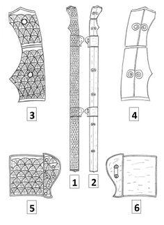 Empuñaduras y enganches para colgar la vaina de las espadas sasánidas según Kaveh Farrokhm en Sassanian Elite cavalry  (AD 224-642) http://www.kavehfarrokh.com/books/elite-sassanian-cavalry/