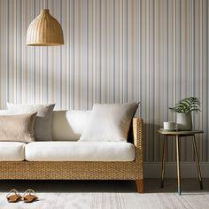 Graham & Brown Isobel Wallpaper - The Home Depot Beige Wallpaper, Striped Wallpaper, Stunning Wallpapers, Grey And Beige, Dove Grey, Graham Brown, Designer Wallpaper, Throw Pillows, Living Room