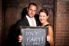 Have guests write a message and take their picture for a scrapbook (in place of a guestbook?). This one's too funny.
