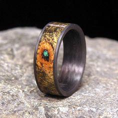 Buck-eye Burl Malachite Inlay Carbon Fiber Wedding Band or Ring