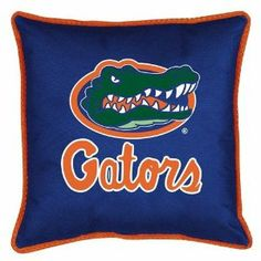 """NCAA Florida Gators Sideline Pillow by Sports Coverage. $19.30. NCAA Florida Gators Sideline Pillow. Pillow is 17"""" x 17"""", 100% Polyester Cover and Fill.Sidelines is trimmed in team's secondary color. 100% Polyester Jersey.Spot Clean only."""