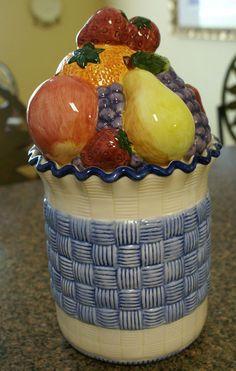 Vintage Lotus Cookie Jar Canister - Ceramic Fruit Basket Weave Design - 1996 #Lotus