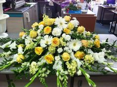 White and yellow casket spray Funeral Spray Flowers, Funeral Sprays, Funeral Caskets, Casket Flowers, Flowers For Mom, Casket Sprays, Funeral Flower Arrangements, Memorial Flowers, Cemetery Flowers