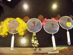 Dollar Tree strainers made into Goldilocks and the Three Bears masks.